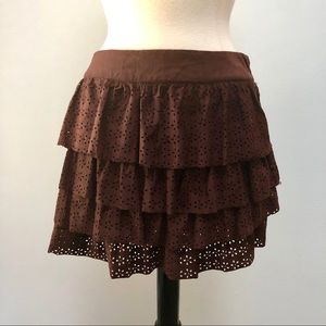 Brown Faux Suede Layered Mini Skirt Ruffled